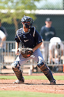 Seattle Mariners catcher Daniel Torres (55) during an Instructional League game against the Cleveland Indians on October 1, 2014 at Goodyear Training Complex in Goodyear, Arizona.  (Mike Janes/Four Seam Images)