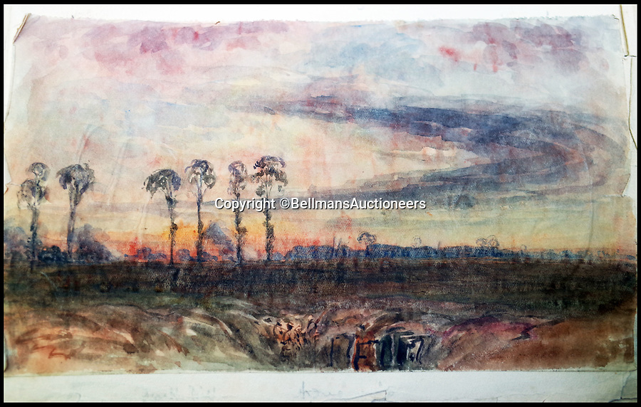 BNPS.co.uk (01202 558833)<br /> Pic: BellmansAuctioneers/BNPS<br /> <br /> Troops in trenches dwarfed by the devastated landscape.<br /> <br /> A collection of beautiful First War watercolours that offer a fascinating glimpse into one man's life in the trenches has emerged for sale a century later.<br /> <br /> Talented artist Finlay Mackinnon, who exhibited multiple times at the prestigious Royal Academy, answered the call to sign up in 1914 and spent almost all of the First World War fighting in France.<br /> <br /> But in his free time on the front he did what he loved best, capturing life in the trenches and also the beauty of their bleak surroundings in his pictures.<br /> <br /> Bellmans Auctioneers, who are selling the album of artwork, know little about the provenance of the album, which is expected to fetch £4,000 at auction.