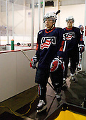 David Warsofsky (US - 5), John Carlson (US - 6) - Team USA defeated Team Russia 6-0 in their final game during the 2009 USA Hockey National Junior Evaluation Camp on Saturday, August 15, 2009, in the USA (NHL-sized) Rink in Lake Placid, New York.