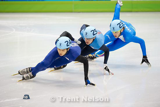 Trent Nelson  |  The Salt Lake Tribune.Mens' 1000m, Short Track Speed Skating, at the XXI Olympic Winter Games in Vancouver, Saturday, February 20, 2010. Quarterfinal 2, Lee Jung-Su (243, korea), Han Jialiang (209), Sjinkie Knegt (247), Thibaut Fauconnet (215), Nicola Rodigari (234)