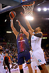 Turkish Airlines Euroleague 2017/2018.<br /> Regular Season - Round 23.<br /> FC Barcelona Lassa vs R. Madrid: 74-101.<br /> Adrien Moerman vs Gustavo Ayon.