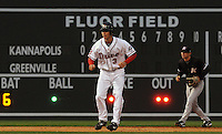 April 3, 2008: Josh Reddick of the Greenville Drive, Class A affiliate of the Boston Red Sox, takes a lead off second base during the season opener against the Kannapolis Intimidators at Fluor Field at the West End in Greenville, S.C. The stadium was renamed from West End Field before the start of the season.   Photo by: Tom Priddy/Four Seam Images