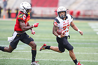 College Park, MD - April 22, 2017: Maryland Terrapins running back Lorenzo Harrison (23) runs for a touchdown during game the Maryland Spring Game at  Capital One Field at Maryland Stadium in College Park, MD.  (Photo by Elliott Brown/Media Images International)