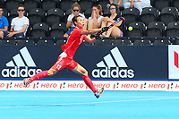China's Lu Fenghui controls the ball in the air during the Hockey World League Semi-Final Pool A match between China and Korea at the Olympic Park, London, England on 17 June 2017. Photo by Steve McCarthy.