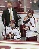 Greg Brown (BC - Associate Head Coach), Teddy Doherty (BC - 4), Travis Jeke (BC - 8) - The Boston College Eagles tied the visiting Yale University Bulldogs 3-3 on Friday, January 4, 2013, at Kelley Rink in Conte Forum in Chestnut Hill, Massachusetts.