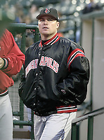 May 15, 2004:  Chris Magruder of the Indianapolis Indians, Triple-A International League affiliate of the Milwaukee Brewers, during a game at Frontier Field in Rochester, NY.  Photo by:  Mike Janes/Four Seam Images