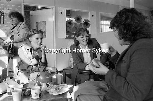 Catholic families visit relatives imprisoned in the Crumlin Road prison jail Belfast 1983. Tea and playgroup for children after visiting men in jail.