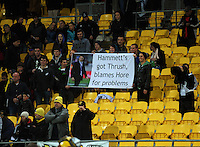 Fans with a Hammett banner. Super 15 rugby match - Crusaders v Hurricanes at Westpac Stadium, Wellington, New Zealand on Saturday, 18 June 2011. Photo: Dave Lintott / lintottphoto.co.nz