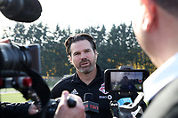 TUKWILA, WA - NOVEMBER 08: Head Coach Greg Vanney of Toronto FC talks to the media at Starfire Sports Complex on November 08, 2019 in Tukwila, Washington.