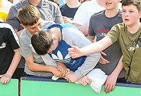 Young Preston North End fans wrestle to get Callum Robinson's shirt<br /> <br /> Photographer Alex Dodd/CameraSport<br /> <br /> The EFL Sky Bet Championship - Preston North End v Burton Albion - Sunday 6th May 2018 - Deepdale Stadium - Preston<br /> <br /> World Copyright &copy; 2018 CameraSport. All rights reserved. 43 Linden Ave. Countesthorpe. Leicester. England. LE8 5PG - Tel: +44 (0) 116 277 4147 - admin@camerasport.com - www.camerasport.com
