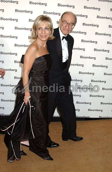 30 April 2005 - Washington, D.C. - Andrea Mitchell and Alan Greenspan. Bloomberg News Party of the Year, following The White House Correspondents' Dinner held at a private location. Photo Credit: Laura Farr/AdMedia