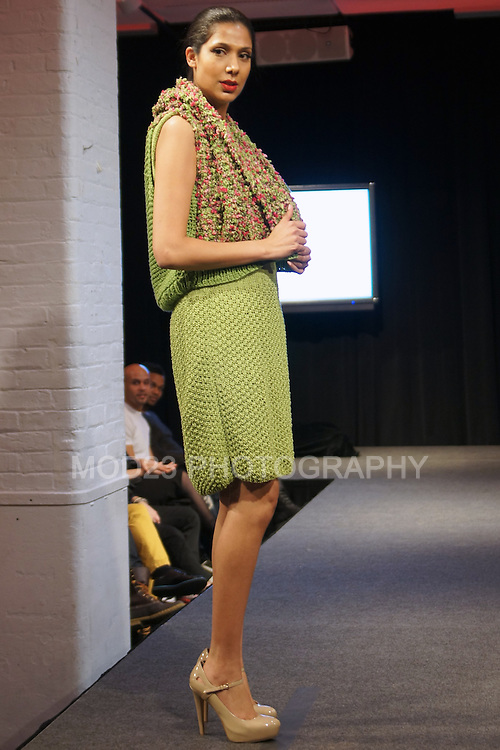 Model walking for Milagros Batista Couture Crochet Fashion Show at Latinista.