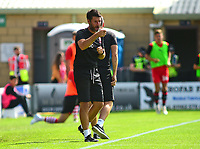 Lincoln City manager Danny Cowley shouts instructions to his team from the technical area<br /> <br /> Photographer Andrew Vaughan/CameraSport<br /> <br /> The EFL Sky Bet League Two - Lincoln City v Swindon Town - Saturday August 11th 2018 - Sincil Bank - Lincoln<br /> <br /> World Copyright &copy; 2018 CameraSport. All rights reserved. 43 Linden Ave. Countesthorpe. Leicester. England. LE8 5PG - Tel: +44 (0) 116 277 4147 - admin@camerasport.com - www.camerasport.com