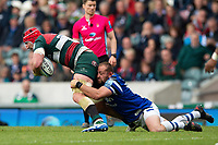 Will Spencer of Leicester Tigers is tackled by Tom Dunn of Bath Rugby. Gallagher Premiership match, between Leicester Tigers and Bath Rugby on May 18, 2019 at Welford Road in Leicester, England. Photo by: Patrick Khachfe / Onside Images