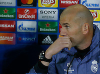 Zinedine Zidane attends a press conferenze at eve  the Champions League Group  soccer match between SSC Napoli and Real Madrid   at the San Paolo  Stadium inNaples March 06, 2017
