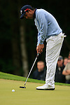 Shiv Kapur (IND) takes his putt on the 1st green during the Final Day of the BMW PGA Championship Championship at, Wentworth Club, Surrey, England, 29th May 2011. (Photo Eoin Clarke/Golffile 2011)