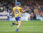 Shane O'Donnell of Clare turns to celebrate his first goal during their Munster Championship semi-final against Limerick at Thurles.  Photograph by John Kelly. .