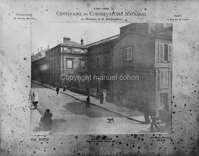 Le Conservatoire National de Musique et de Declamation, or the Paris Conservatory, a college of music and dance founded in 1795, photograph taken by Pirou in 1895 to celebrate the centenary of the conservatory. Copyright © Collection Particuliere Tropmi / Manuel Cohen
