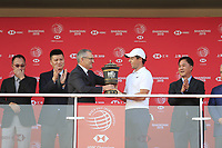 Rory McIlroy (NIR) receives his winners trophy after the final round of the WGC HSBC Champions, Sheshan Golf Club, Shanghai, China. 03/11/2019.<br /> Picture Fran Caffrey / Golffile.ie<br /> <br /> All photo usage must carry mandatory copyright credit (© Golffile | Fran Caffrey)
