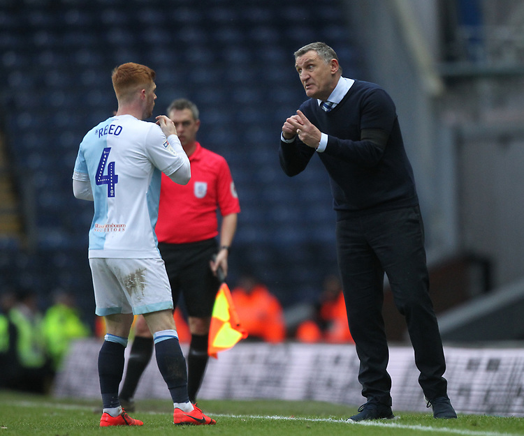Blackburn Rovers Manager Tony Mowbray speaks to  Harrison Reed<br /> <br /> Photographer Mick Walker/CameraSport<br /> <br /> The EFL Sky Bet Championship - Blackburn Rovers v Bristol City - Saturday 9th February 2019 - Ewood Park - Blackburn<br /> <br /> World Copyright &copy; 2019 CameraSport. All rights reserved. 43 Linden Ave. Countesthorpe. Leicester. England. LE8 5PG - Tel: +44 (0) 116 277 4147 - admin@camerasport.com - www.camerasport.com