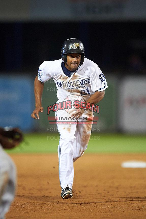 West Michigan Whitecaps center fielder Derek Hill (21) running the bases during a game against the Burlington Bees on July 25, 2016 at Fifth Third Ballpark in Grand Rapids, Michigan.  West Michigan defeated Burlington 4-3.  (Mike Janes/Four Seam Images)