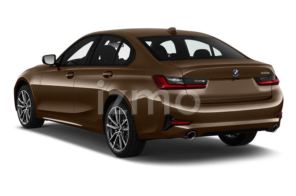 Car pictures of rear three quarter view of a 2019 BMW 3 Series Sport PHEV 4 Door Sedan angular rear