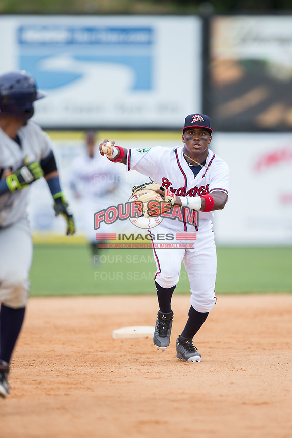 Danville Braves second baseman Nicholas Shumpert (1) chases a Princeton Rays runner towards third base at American Legion Post 325 Field on June 25, 2017 in Danville, Virginia.  The Braves walked-off the Rays 7-6 in 11 innings.  (Brian Westerholt/Four Seam Images)