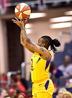Washington, DC - June 15, 2018: Los Angeles Sparks guard Riquna Williams (2) shoots a jump shot during game between the Washington Mystics and Los Angeles Sparks at the Capital One Arena in Washington, DC. (Photo by Phil Peters/Media Images International)