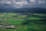 Aerial over farmlands in the Eel River valley near Ferndale, Humboldt County, CALIFORNIA