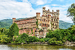 The remains of Bannerman's Castle, built by Francis Bannerman in the early years of the 20th century but heavily damaged by a series of explosions and fires after his death in 1918. The castle is located on Pollepel Island in the Hudson River near Beacon, NY.