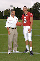 7 August 2006: Stanford Cardinal head coach Walt Harris and Trent Edwards during Stanford Football's Team Photo Day at Stanford Football's Practice Field in Stanford, CA.