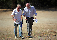 Pictured l-r: Eddie Needham the grandfather of missing Ben Needham with DI Jon Cousins of South Yorkshire Police in Kos, Greece. Wednesday 05 October 2016<br />