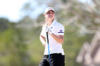 WALLACE, NC - MARCH 09: Olivia John of High Point University waits to tee off on the 13th hole of the River Course at River Landing Country Club on March 09, 2020 in Wallace, North Carolina.
