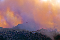870000397 two los angeles county fire fighting helicopters fly over homes on a burning hillside in the path of the topanga fire in the hills above the san fernando valley in southern california