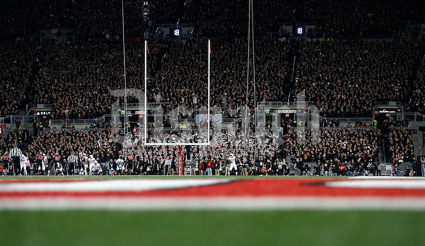 The black out during the first quarter of the NCAA football game between the Ohio State Buckeyes and the Penn State Nittany Lions at Ohio Stadium on Saturday, October 17, 2015. (Columbus Dispatch photo by Jonathan Quilter)
