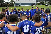 The St Pat's team huddles at halftime in the Wellington Premiership secondary schools rugby match between Wellington College and St Patrick's College Town at Wellington College in Wellington, New Zealand on Wednesday, 30 May 2018. Photo: Dave Lintott / lintottphoto.co.nz
