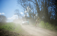 Rob Ruijgh (NLD/Crelan-Vastgoedservice) flying through the dust<br /> <br /> 33th Tro Bro L&eacute;on 2016