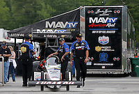 May 11, 2013; Commerce, GA, USA: NHRA crew members for top fuel dragster driver Brandon Bernstein during the Southern Nationals at Atlanta Dragway. Mandatory Credit: Mark J. Rebilas-