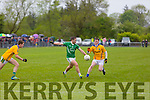 St. Kieran's Maurice Adam Barry goes for a point as Feale's Sean Weir tries to block in the Senior County Championship St. Kierans V Feale Rangers at the Cordal GAA Ground on Saturday