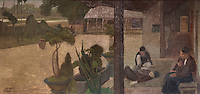 Painting of a Vietnamese village, oil on canvas, 1929, by Vietnamese artist Le Pho, 1907-2001, in the entrance hall in the Maison des Etudiants de l'Asie du Sud Est, or South East Asian House, originally called Maison de l'Indochine, designed by Pierre Martin and Maurice Vieu and inaugurated in 1930, in the Cite Internationale Universitaire de Paris, in the 14th arrondissement of Paris, France. The CIUP or Cite U was founded in 1925 after the First World War by Andre Honnorat and Emile Deutsch de la Meurthe to create a place of cooperation and peace amongst students and researchers from around the world. It consists of 5,800 rooms in 40 residences, accepting another 12,000 student residents each year. Picture by Manuel Cohen. L'autorisation de reproduire cette œuvre doit etre demandee aupres de l'ADAGP/Permission to reproduce this work of art must be obtained from DACS.