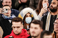 26th February 2020; Estadio Santiago Bernabeu, Madrid, Spain; UEFA Champions League Football, Real Madrid versus Manchester City; Fans with face masks due to the Corona virus outbreak