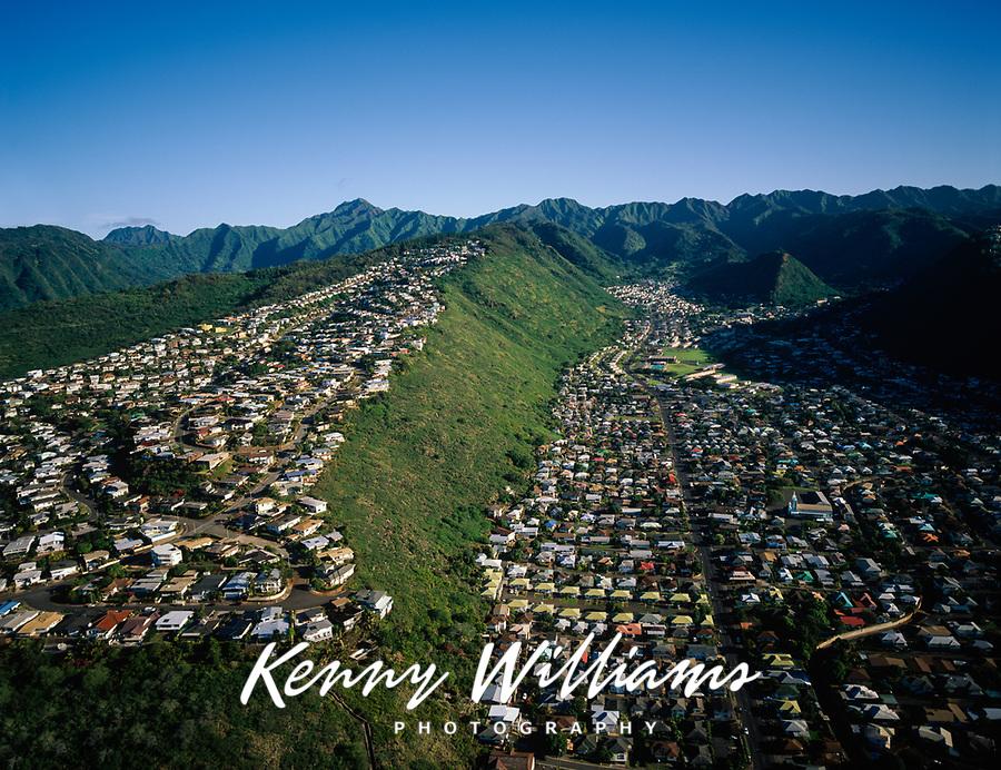 Homes on Ridgetops & In Valleys, Aerial View, Honolulu, Oahu, Hawaii, USA.