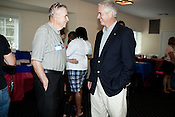 "September 7, 2009. Raleigh, NC.. The Wake County Democratic Party held its ""Good Old Fashion Labor Day Picnic""  at the Elk's Lodge in Raleigh. Many candidates for local office attended to meet the public and eat barbeque and chicken.. Thomas Crowder, right, candidate for city council."