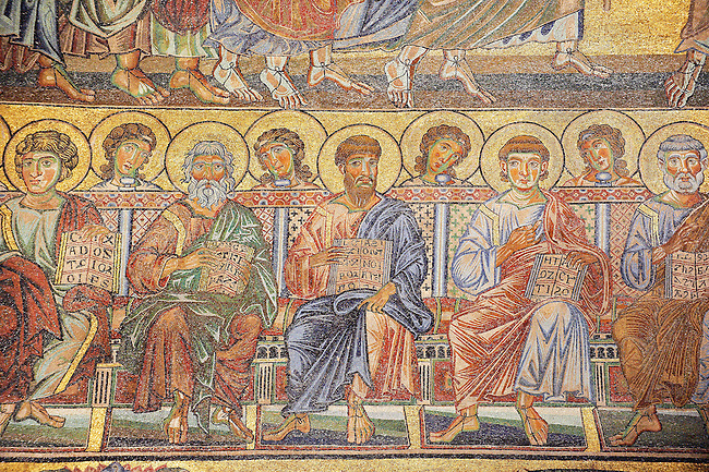 The Medieval mosaics of the ceiling of The Baptistry of Florence Duomo ( Battistero di San Giovanni ) showing the profits,  Mary and the baby Jesus on a donkey travelling to Egypt,  started in 1225 by Venetian craftsmen in a Byzantine style and completed in the 14th century. Florence Italy
