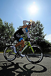 GER - Maxdorf, Germany, June 14: Athletes compete in the cycling section during the 12. Maxdorfer Triathlon on June 14, 2015 at TSG Maxdorf in Maxdorf, Germany. (Photo by Dirk Markgraf / www.265-images.com) *** Local caption *** Marcus Hoelder #614 (Tri-Treff Storz)
