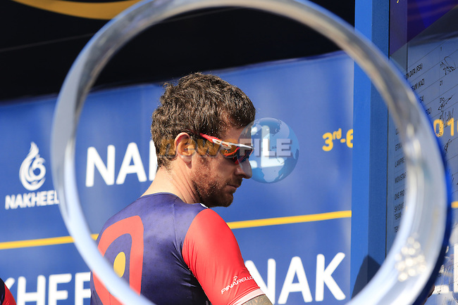 Sir Bradley Wiggins (GBR) Team Wiggins signs on before the start of Stage 2, the Nakheel Stage, of the 2016 Dubai Tour starting at the Dubai International Marine Club and running 188km to Palm Jumeirah Atlantis, Dubai, United Arab Emirates. 4th February 2016.<br /> Picture: Eoin Clarke | Newsfile<br /> <br /> <br /> All photos usage must carry mandatory copyright credit (&copy; Newsfile | Eoin Clarke)