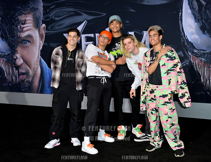 LOS ANGELES, CA. October 01, 2018: PrettyMuch, Nick Mara, Brandon Arreaga, Austin Porter, Zion Kuwonu &amp; Edwin Honoret at the world premiere for &quot;Venom&quot; at the Regency Village Theatre.<br /> Picture: Paul Smith/Featureflash