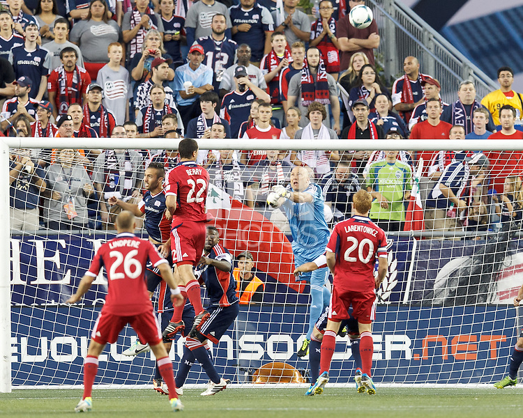 New England Revolution goalkeeper Matt Reis (1) punches out a corner kick. In a Major League Soccer (MLS) match, the New England Revolution (blue) defeated Chicago Fire (red), 2-0, at Gillette Stadium on August 17, 2013.