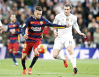 Real Madrid's Garet Bale (r) and FC Barcelona's Jordi Alba during La Liga match. November 21,2015. (ALTERPHOTOS/Acero) /NortePhoto