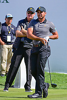 Ernie Els (RSA) looks over the shoulder ofJason Day (AUS)  as they watch Day's tee shot on 1 during round 4 Singles of the 2017 President's Cup, Liberty National Golf Club, Jersey City, New Jersey, USA. 10/1/2017. <br /> Picture: Golffile | Ken Murray<br /> <br /> All photo usage must carry mandatory copyright credit (&copy; Golffile | Ken Murray)